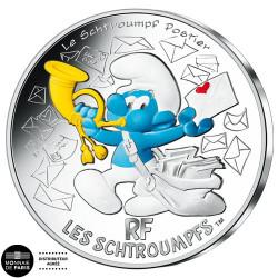 10 Euro Argent France 2020 colorisée - Schtroumpf Postier