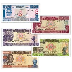 Set 5 billets de Guinée 1985