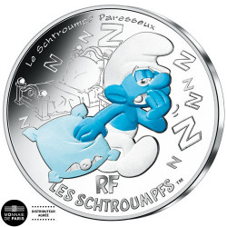 10 Euro Argent France 2020 colorisée - Schtroumpf Paresseux