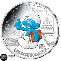 10 Euro Argent France 2020 colorisée - Schtroumpf à lunettes