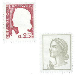Les 2 timbres Marianne type Decaris 1960