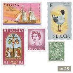 25 timbres Sainte-Lucie