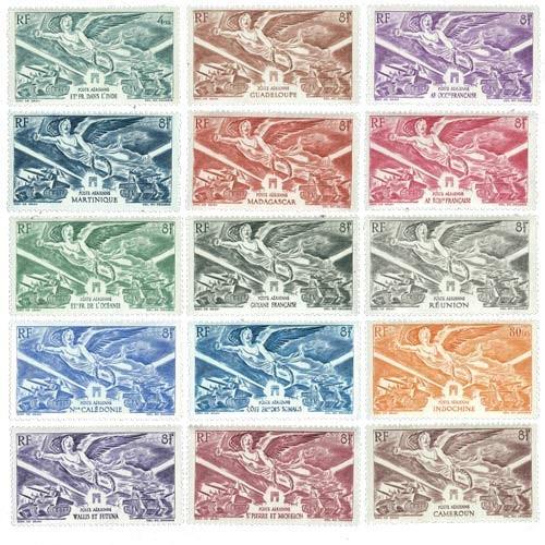 15 timbres série complète 1946 DOM TOM