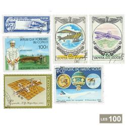 100 timbres Avions anciens