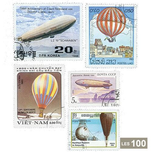 100 timbres Ballons et dirigeables