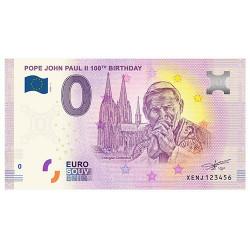 Billet Souvenir 0€ Vatican 2020 - Jean-Paul II
