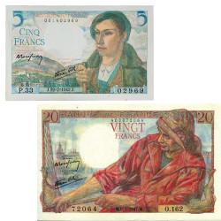 Lot des  2 billets 5 Francs et 20 Francs
