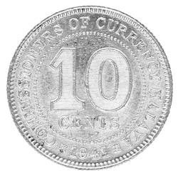 10 Cents Argent Malaya 1941 - George V