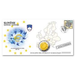 """L'enveloppe """"1er Jour d'émission"""" 2 Euro Slovénie 2017 - 10 ans de l'Euro"""