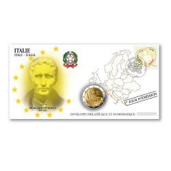 """L'enveloppe """"1er Jour"""" d'émission 2 Euro Italie 2009 - Louis Braille"""