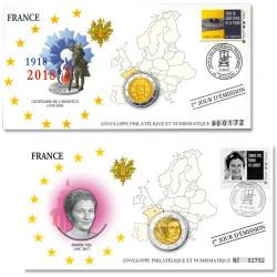 """Lot de 2 Enveloppes """"1er jour"""" d'émission France 2018"""