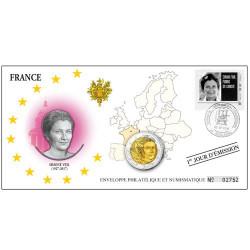 """L'enveloppe """"1er Jour"""" d'émission 2 Euro Simone Veil France 2018"""