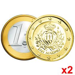 Lot des  2 x 1 Euro Saint-Marin 2015 - Armoiries