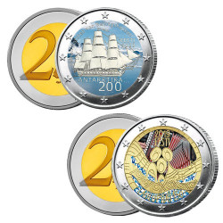 Lot des 2 x 2 Euro colorisées Estonie 2020-2019