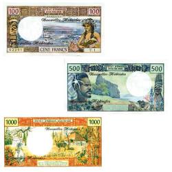 Lot de 3 billets Nouvelles Hébrides 1977-1980