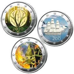 Lot des 3 x 2 Euro colorisées 2020