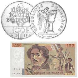Lot de 100 Francs Argent + billet 100 Francs Delacroix