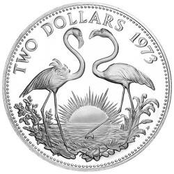 2 Dollars Argent Bahamas 1966-1980 - Flamands roses
