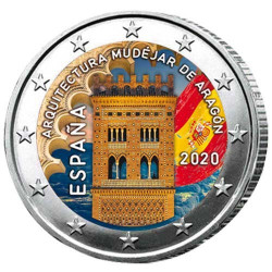 2 Euro Espagne 2020 colorisée - Mudéjar Aragon