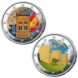 Lot des 2 x 2 Euro Espagne 2020-2019 colorisées