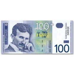 Billet 100 Dinars Serbie 2003 - Nicolas Tesla