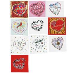 10 timbres cœur autoadhésifs