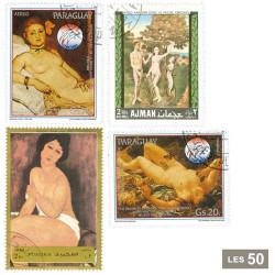 50 timbres Tableaux de nus