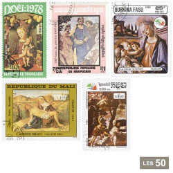 50 timbres Peintres italiens