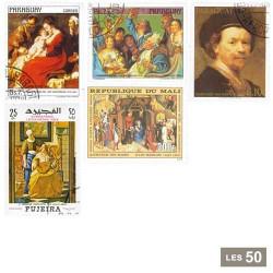 50 timbres Peintres flamands