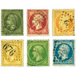 6 timbres 2nd Empire Français