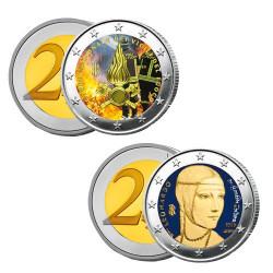 Lot des 2 x 2 Euro Italie 2020-2019 colorisées