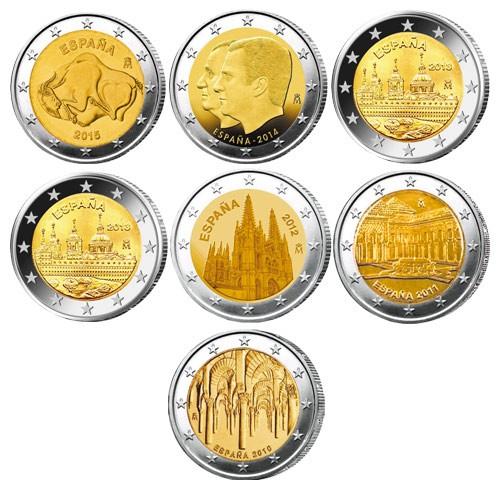 Lot des 7 x 2 Euros Espagne