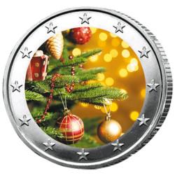 2 Euro Sapin de Noël colorisée