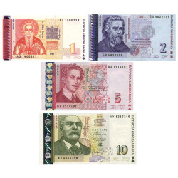 Lot de 4 billets Bulgarie