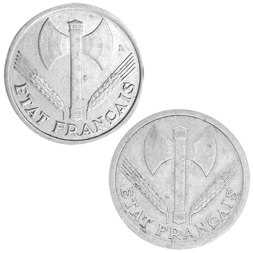 Lot de 1 et 2 Francs Etat Français