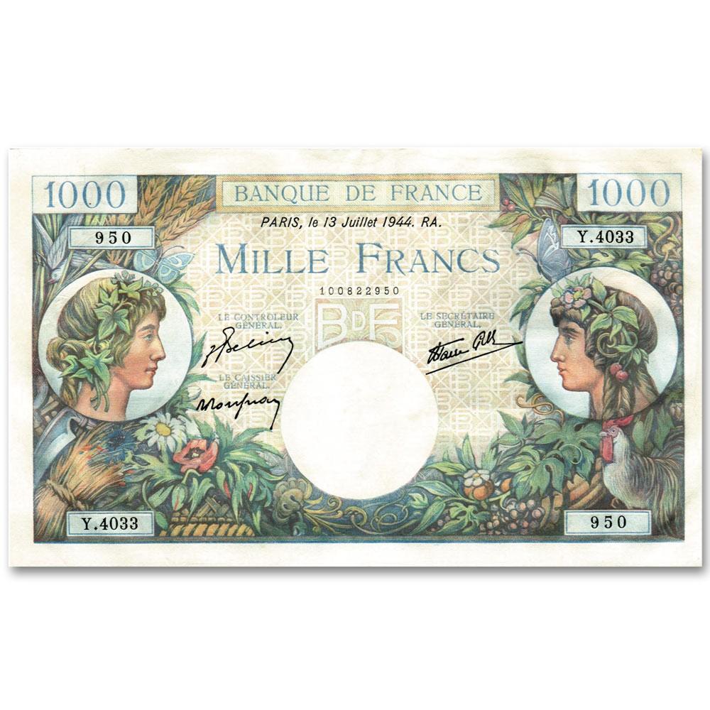1 000 Francs Commerce et Industrie 1940