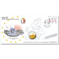 """L'enveloppe """"1er jour"""" d'émission 2 Euro Malte 2019 - Les temples de Ta' Hagrat"""