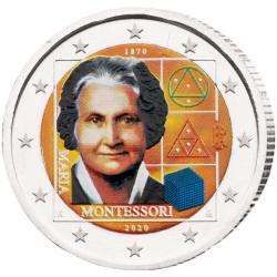 2 Euro Italie 2020 colorisée - Maria Montessori