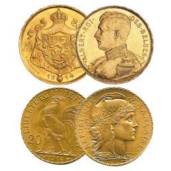 Lot des 4 monnaies en Or + un écrin présentoir offert