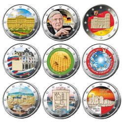 Lot des 9 x 2 Euro colorisées