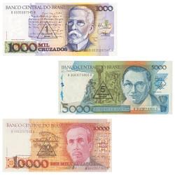 3 Billets Brésil 1989-1990