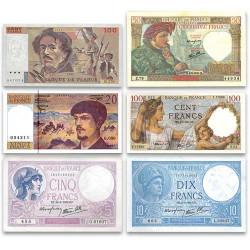 Lot de 6 Billets français