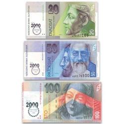 3 billets Slovaquie 2000