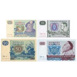 4 billets Suède 1966-1990