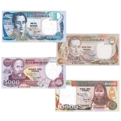 4 Billets Colombie 1993-1995