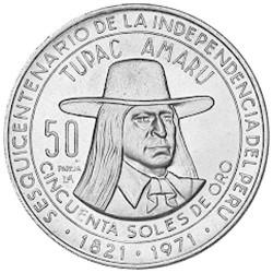 50 Soles Argent - Pérou 1971