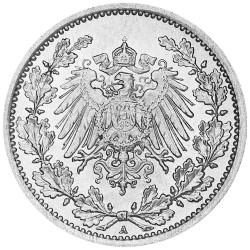 1/2 Mark Argent Allemagne 1914