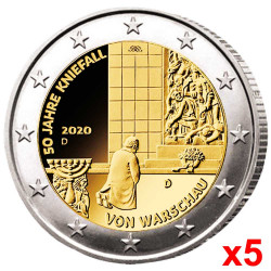 5 x 2 Euro Allemagne 2020 -...