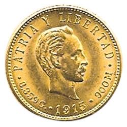 5 Pesos Or Cuba 1915-1916