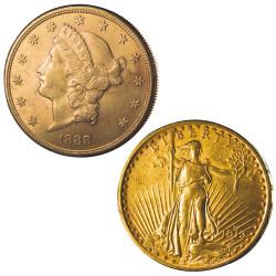 Lot des 2 x 20 Euro Or USA